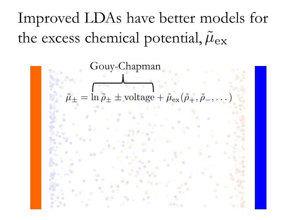 Improved LDAs have better models for the excess chemical potential, Gouy-Chapman