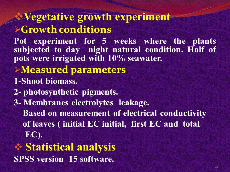  Vegetative growth experiment  Growth conditions Pot experiment for 5 weeks where the plants subjected to day night natural condition.