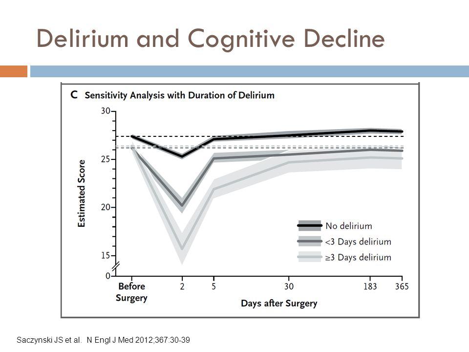 Delirium and Cognitive Decline Saczynski JS et al. N Engl J Med 2012;367:30-39