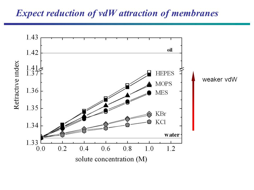 Expect reduction of vdW attraction of membranes weaker vdW