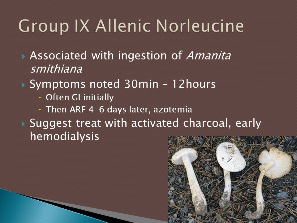  Associated with ingestion of Amanita smithiana  Symptoms noted 30min – 12hours  Often GI initially  Then ARF 4-6 days later, azotemia  Suggest t