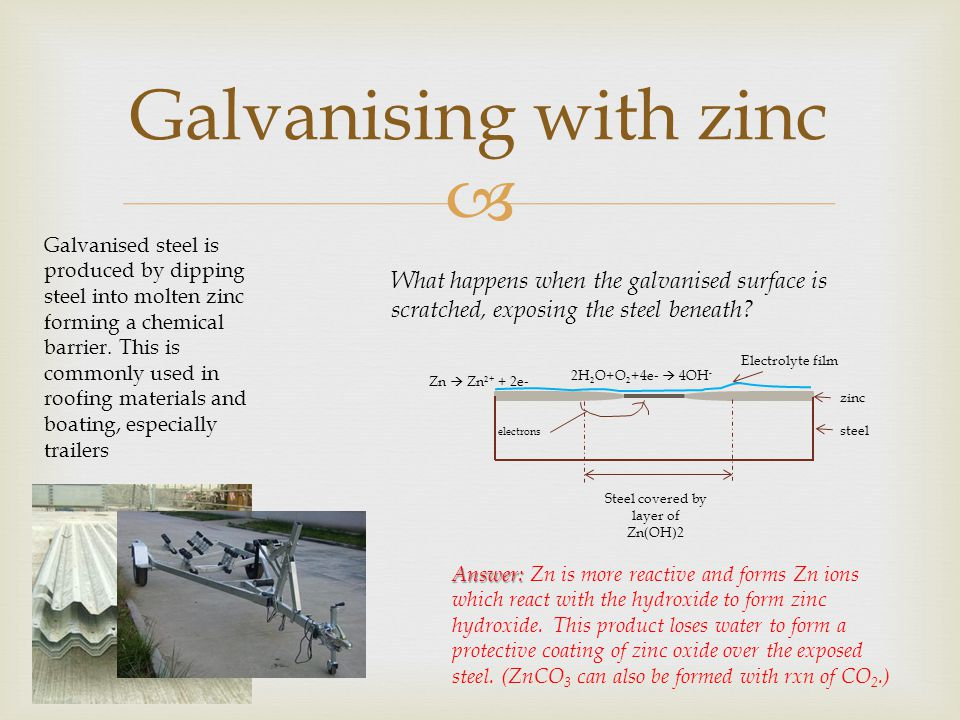  Galvanising with zinc Galvanised steel is produced by dipping steel into molten zinc forming a chemical barrier. This is commonly used in roofing ma