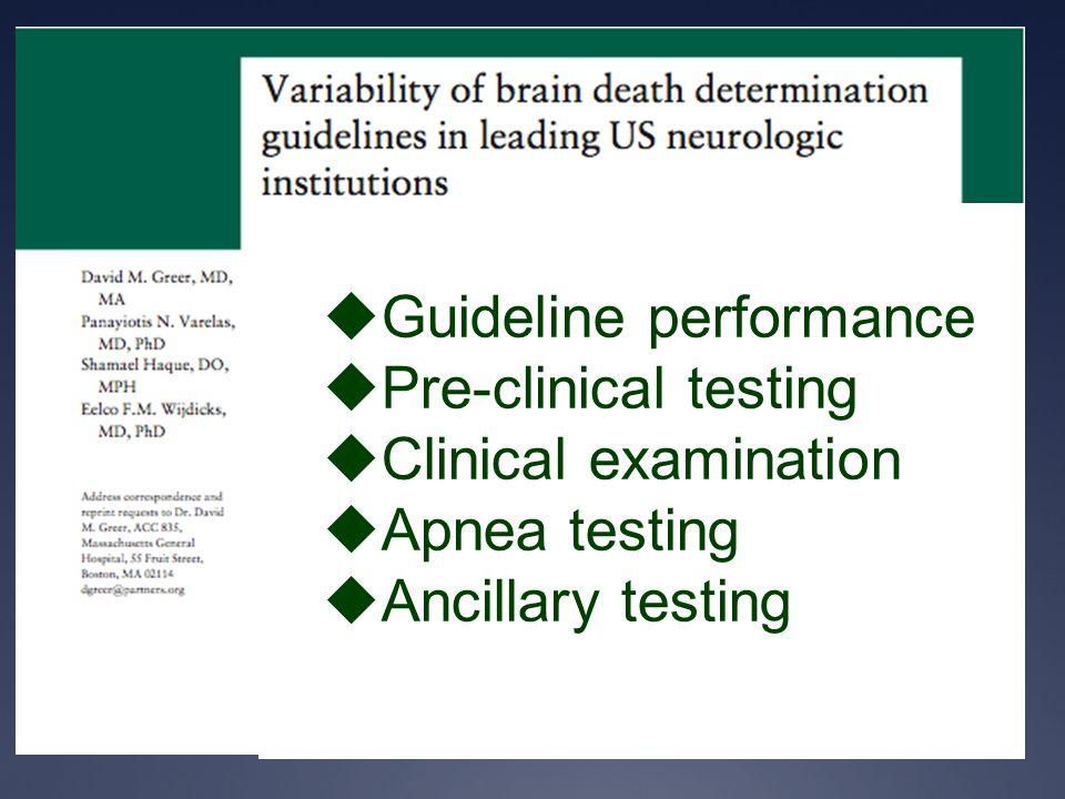  Guideline performance  Pre-clinical testing  Clinical examination  Apnea testing  Ancillary testing