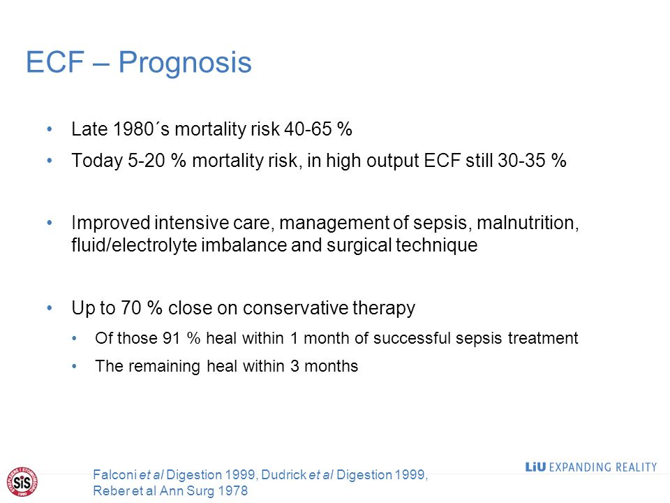 ECF – Prognosis Late 1980´s mortality risk 40-65 % Today 5-20 % mortality risk, in high output ECF still 30-35 % Improved intensive care, management of sepsis, malnutrition, fluid/electrolyte imbalance and surgical technique Up to 70 % close on conservative therapy Of those 91 % heal within 1 month of successful sepsis treatment The remaining heal within 3 months 9 Falconi et al Digestion 1999, Dudrick et al Digestion 1999, Reber et al Ann Surg 1978