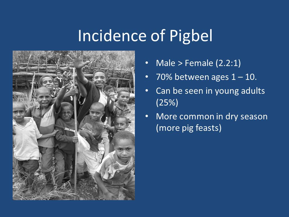 Incidence of Pigbel Male > Female (2.2:1) 70% between ages 1 – 10.