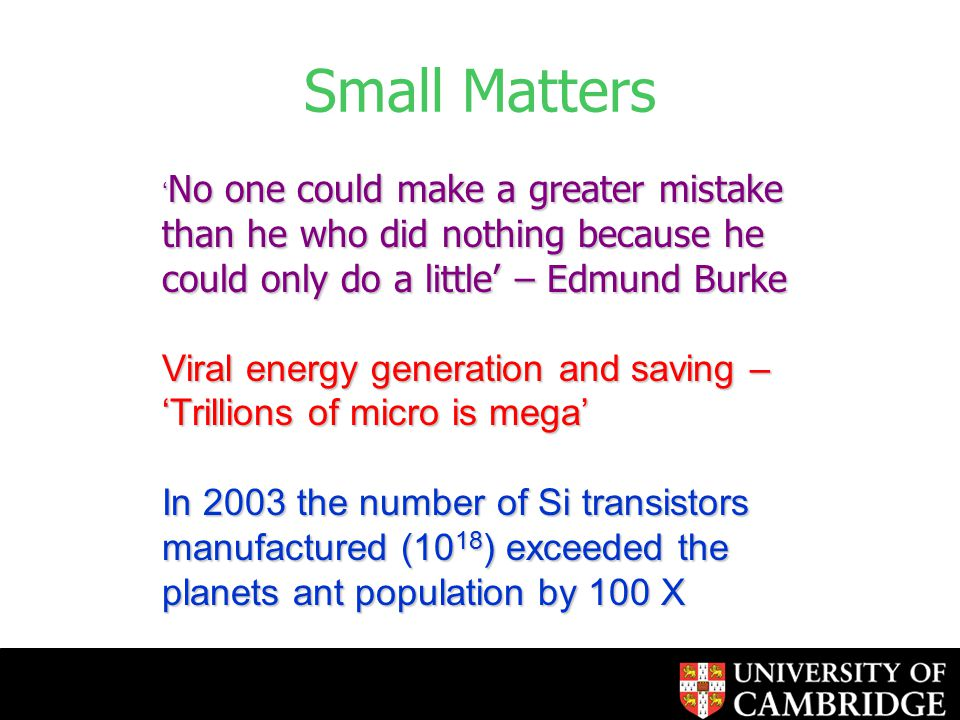 Small Matters ' No one could make a greater mistake than he who did nothing because he could only do a little' – Edmund Burke Viral energy generation and saving – 'Trillions of micro is mega' In 2003 the number of Si transistors manufactured (10 18 ) exceeded the planets ant population by 100 X