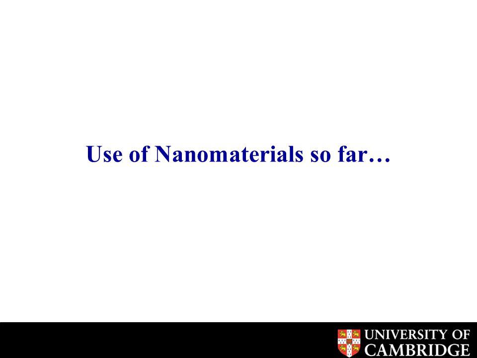 Use of Nanomaterials so far…