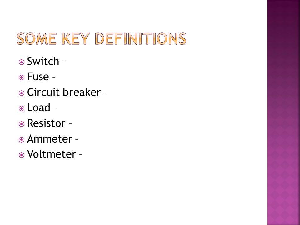  Switch –  Fuse –  Circuit breaker –  Load –  Resistor –  Ammeter –  Voltmeter –