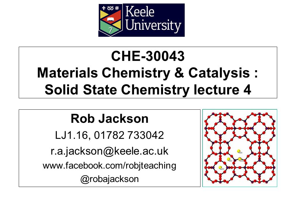 Plan of lecture Defects in crystalline materials Classification of point defects Intrinsic and extrinsic defects Ionic conductivity in crystalline materials Solid state electrolytes Fast ion conductors Lithium ion batteries che-30043 lecture 42