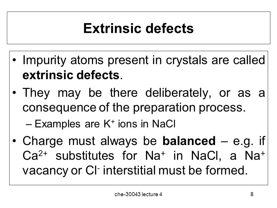 che-30043 lecture 49 Ionic Conduction Mechanisms The presence of point defects makes it possible for ions to move through a structure.