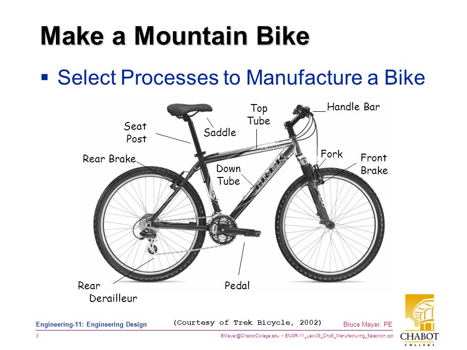 BMayer@ChabotCollege.edu ENGR-11_Lec-09_Chp6_Manufacturing_Selection.ppt 3 Bruce Mayer, PE Engineering-11: Engineering Design Make a Mountain Bike  S