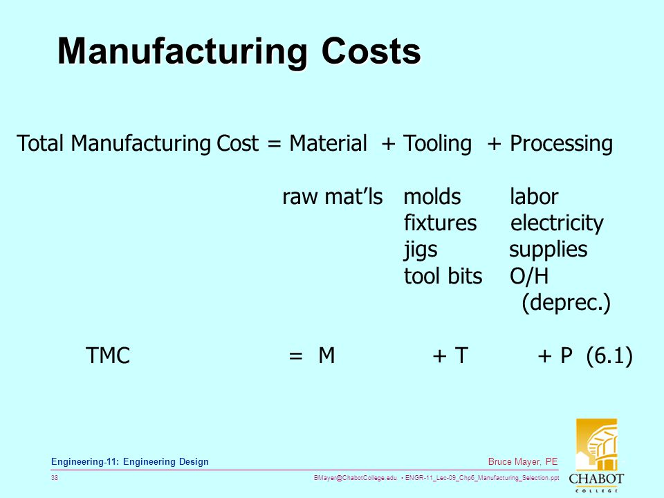 BMayer@ChabotCollege.edu ENGR-11_Lec-09_Chp6_Manufacturing_Selection.ppt 38 Bruce Mayer, PE Engineering-11: Engineering Design Manufacturing Costs Tot