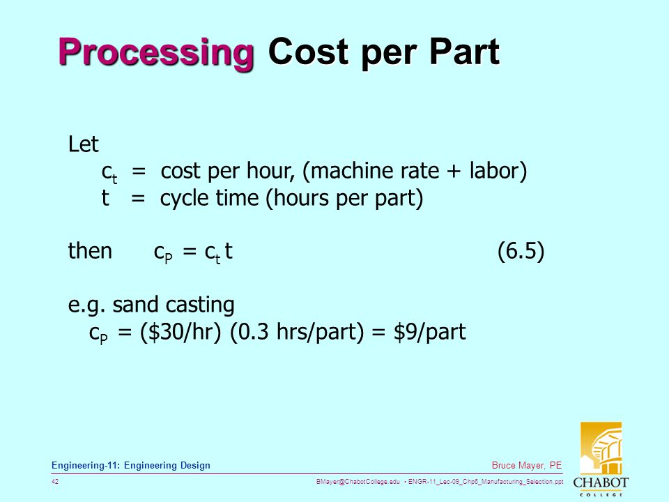 BMayer@ChabotCollege.edu ENGR-11_Lec-09_Chp6_Manufacturing_Selection.ppt 42 Bruce Mayer, PE Engineering-11: Engineering Design Processing Cost per Par