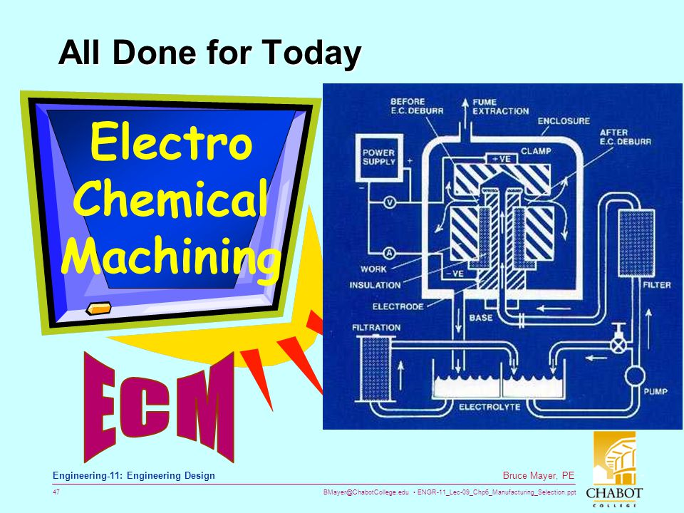 BMayer@ChabotCollege.edu ENGR-11_Lec-09_Chp6_Manufacturing_Selection.ppt 47 Bruce Mayer, PE Engineering-11: Engineering Design All Done for Today Elec