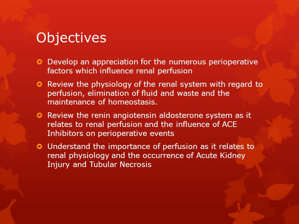 Objectives  Develop an appreciation for the numerous perioperative factors which influence renal perfusion  Review the physiology of the renal system with regard to perfusion, elimination of fluid and waste and the maintenance of homeostasis.