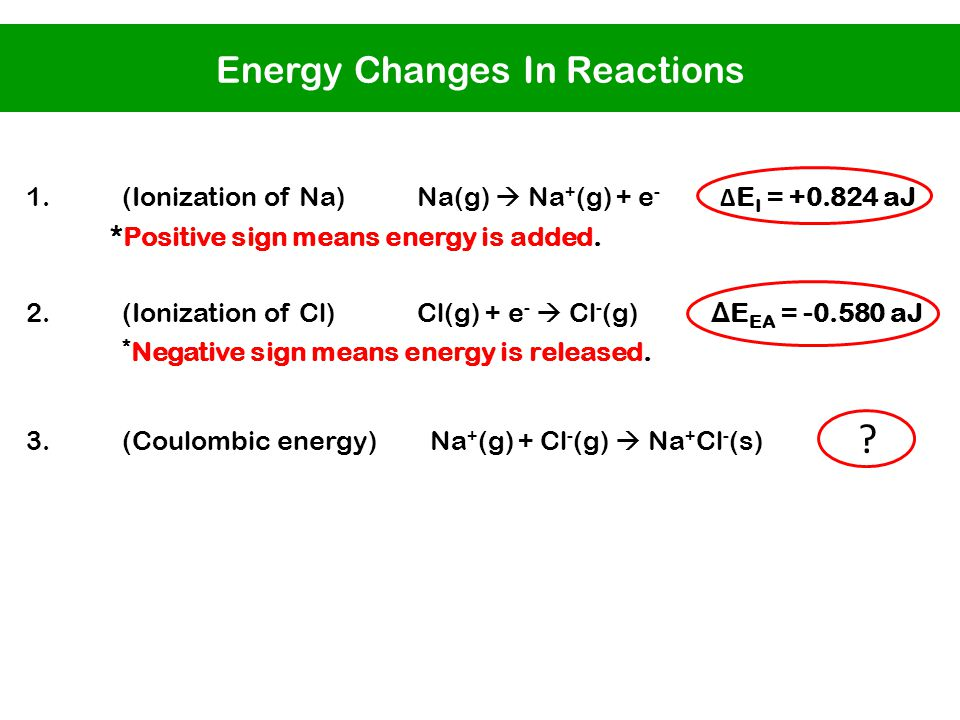 1.(Ionization of Na) Na(g)  Na + (g) + e - Δ E I = +0.824 aJ *Positive sign means energy is added.