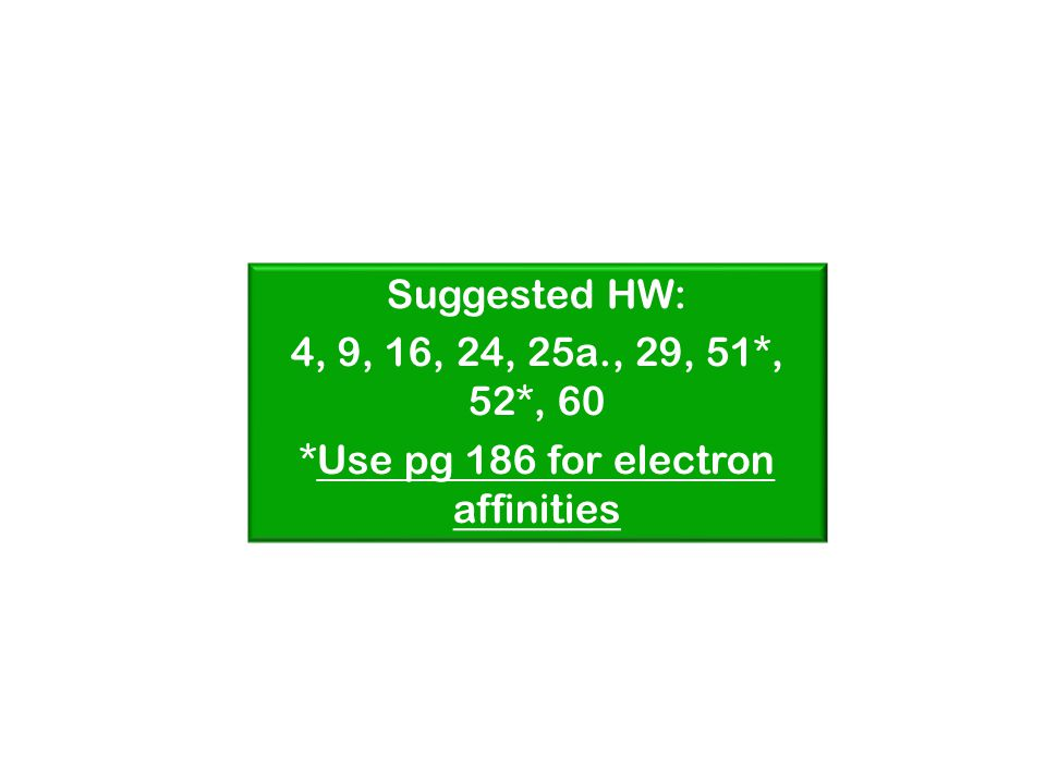 Suggested HW: 4, 9, 16, 24, 25a., 29, 51*, 52*, 60 *Use pg 186 for electron affinities