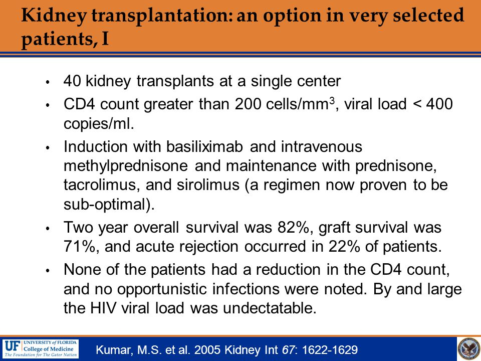 Kidney transplantation: an option in very selected patients, I  40 kidney transplants at a single center  CD4 count greater than 200 cells/mm 3, vir