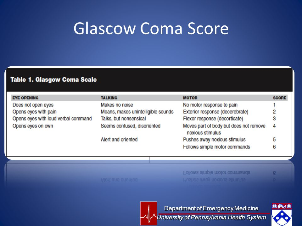 Glascow Coma Score Department of Emergency Medicine University of Pennsylvania Health System