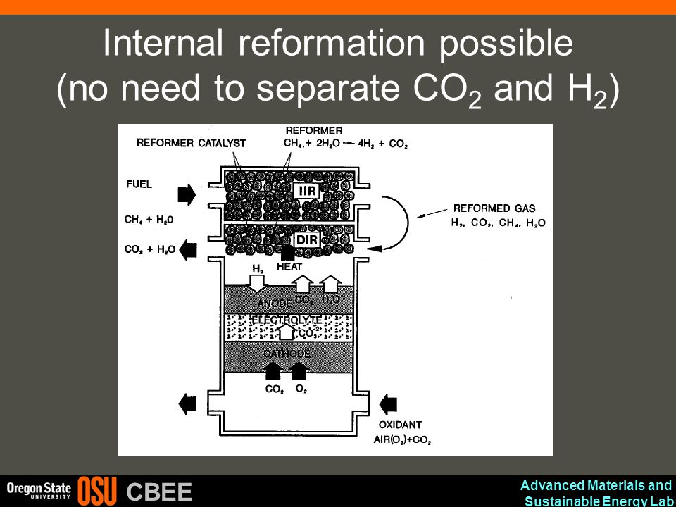 Advanced Materials and Sustainable Energy Lab CBEE Internal reformation possible (no need to separate CO 2 and H 2 )
