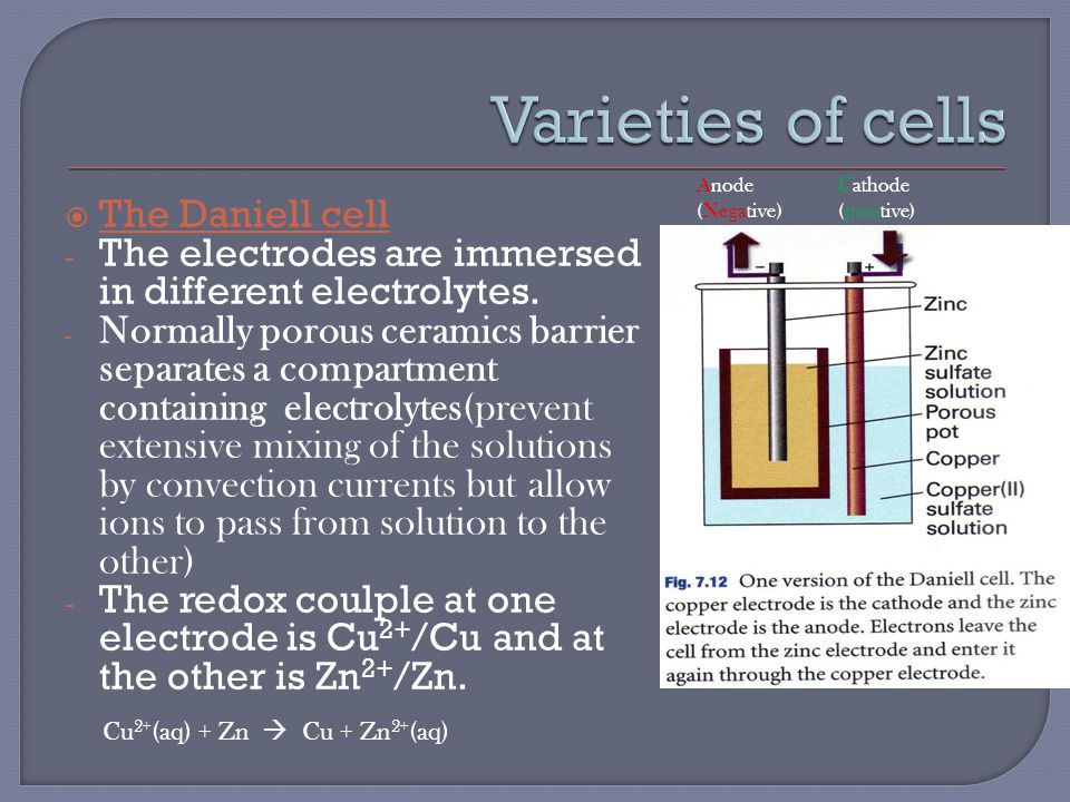  Electrolyte concentration cell: the electrode compartments are identical except for the conc of the electrolytes.
