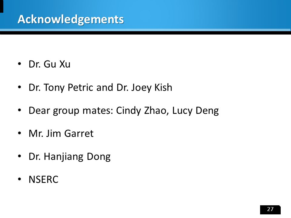 Dr. Gu Xu Dr. Tony Petric and Dr. Joey Kish Dear group mates: Cindy Zhao, Lucy Deng Mr. Jim Garret Dr. Hanjiang Dong NSERC 27 Acknowledgements