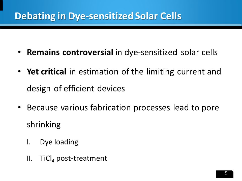 1.Coating of Pt on FTO glass by heat treatment of chloroplanitic acid (H 2 PtCl 6 ) 2.Deposition of TiO 2 thin film by screen printing process 3.Sealing the cell with Surlyn film as spacer(25μm) 4.Injecting electrolyte (I - /I 3 - redox couple in acetonitrile) from the hole at the top 10 Experimental: Device Fabrications Injection hole  To focus on ion diffusion, a modified version of DSSC is fabricated