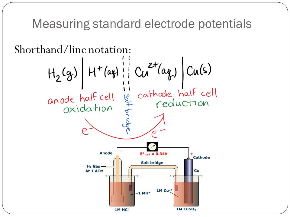Measuring standard electrode potentials Shorthand/line notation: