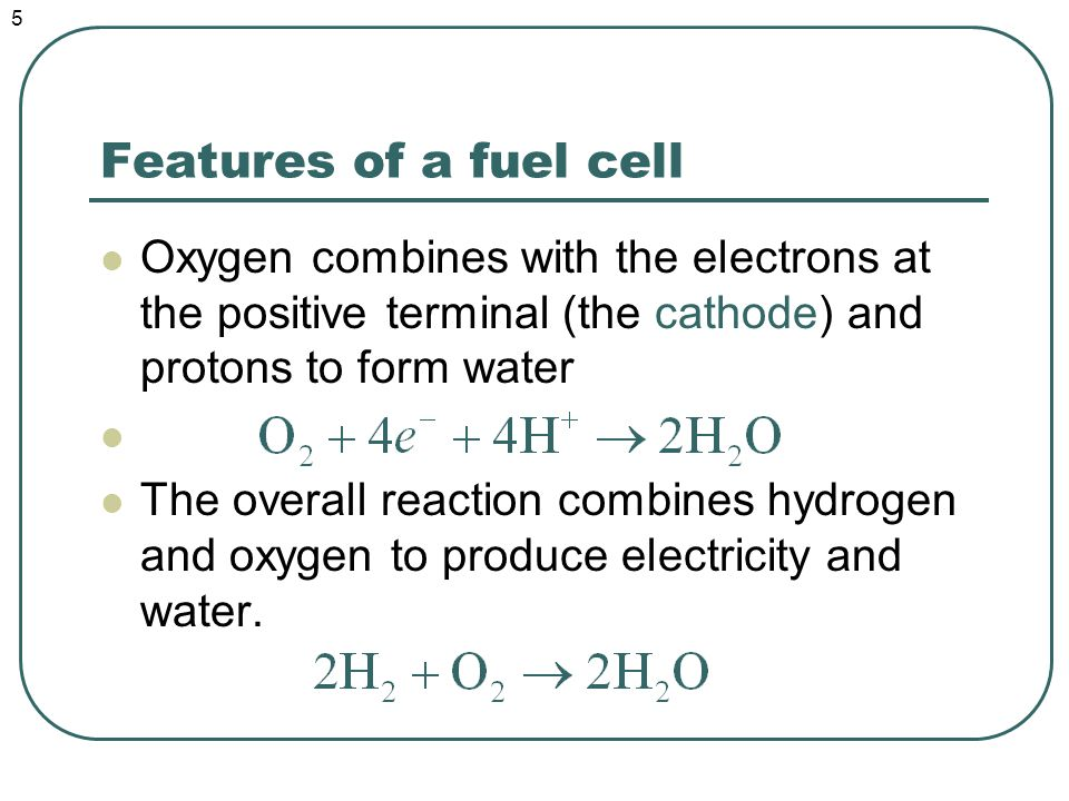 The proton exchange membrane fuel cell Has a high power density and low operating temperature The electrolyte is a specially treated polymer (chemically related to Teflon) that conducts only positive ions The membrane must be hydrated (7 water molecules for every proton conducted!) The membrane is poisoned by carbon monoxide 6