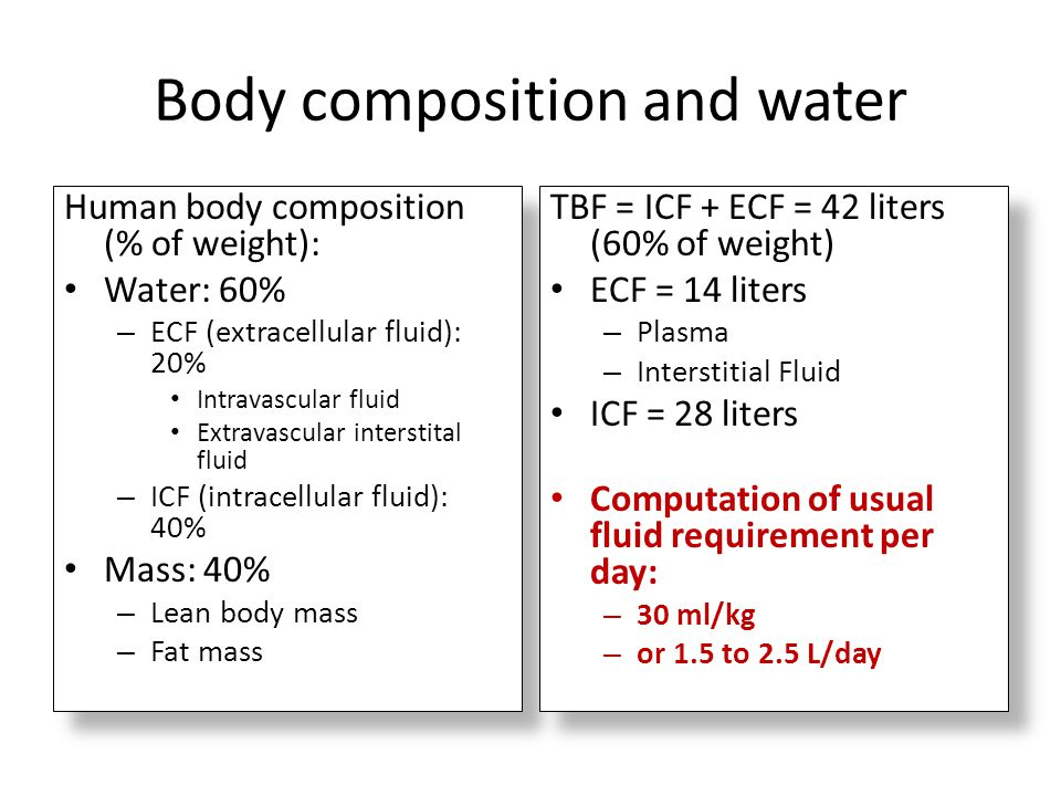 Body composition and water Human body composition (% of weight): Water: 60% – ECF (extracellular fluid): 20% Intravascular fluid Extravascular interst