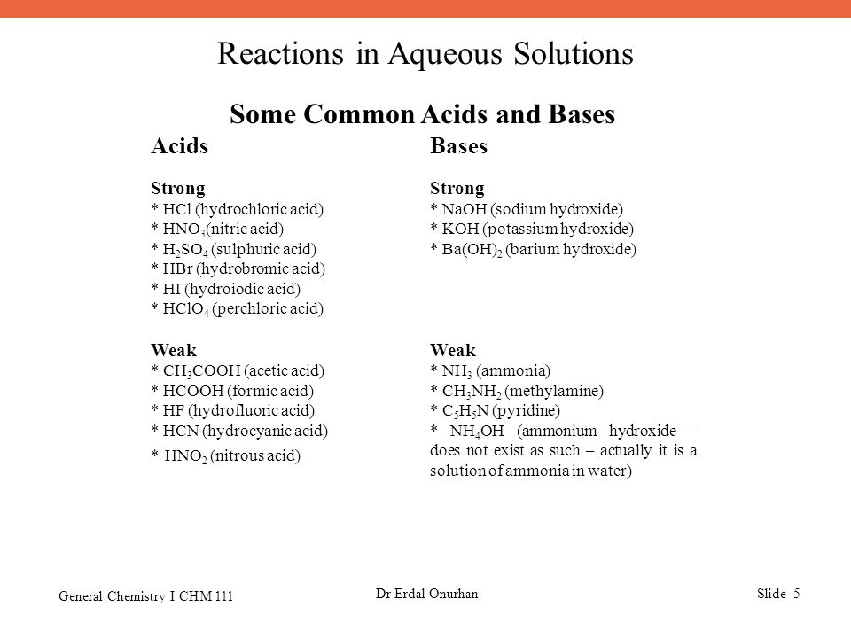 Reactions in Aqueous Solutions General Chemistry I CHM 111 Dr Erdal OnurhanSlide 5 Some Common Acids and Bases AcidsBases Strong * HCl (hydrochloric a