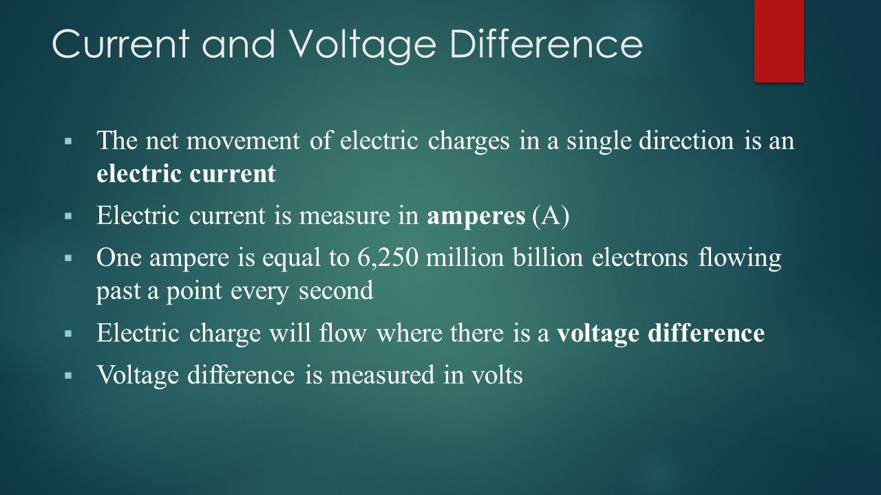  The net movement of electric charges in a single direction is an electric current  Electric current is measure in amperes (A)  One ampere is equal to 6,250 million billion electrons flowing past a point every second  Electric charge will flow where there is a voltage difference  Voltage difference is measured in volts Current and Voltage Difference