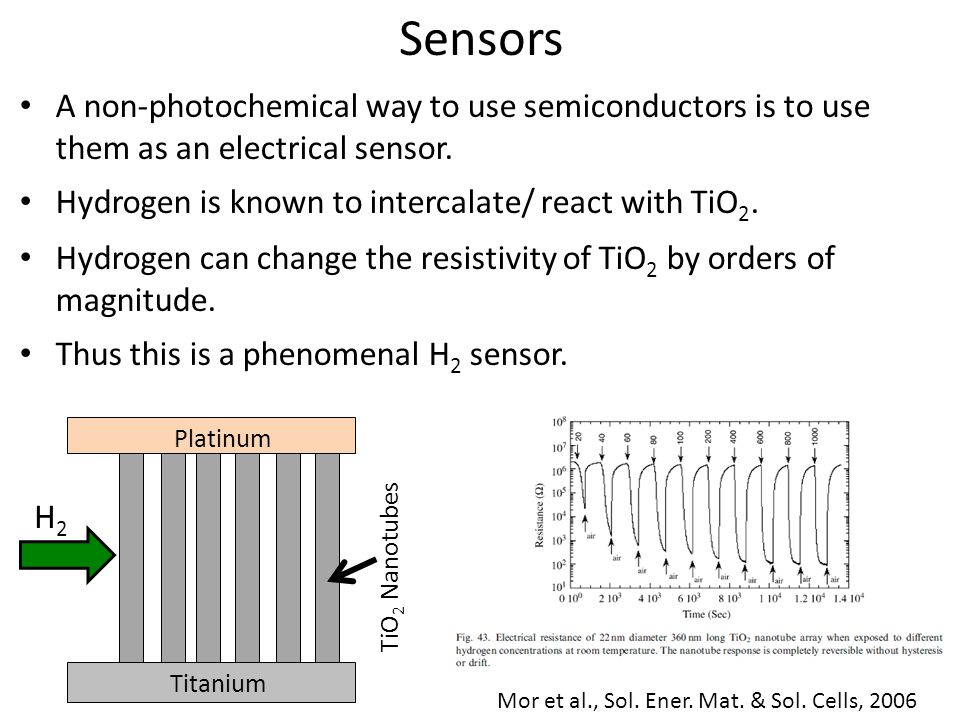 Sensors A non-photochemical way to use semiconductors is to use them as an electrical sensor.