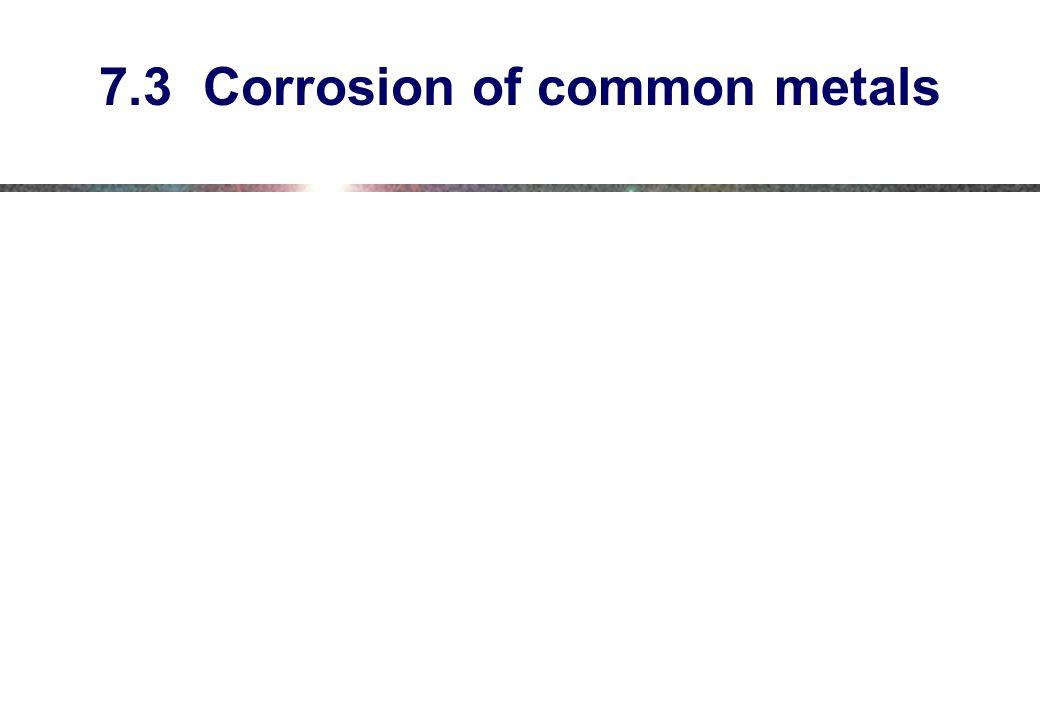 7.3 Corrosion of common metals
