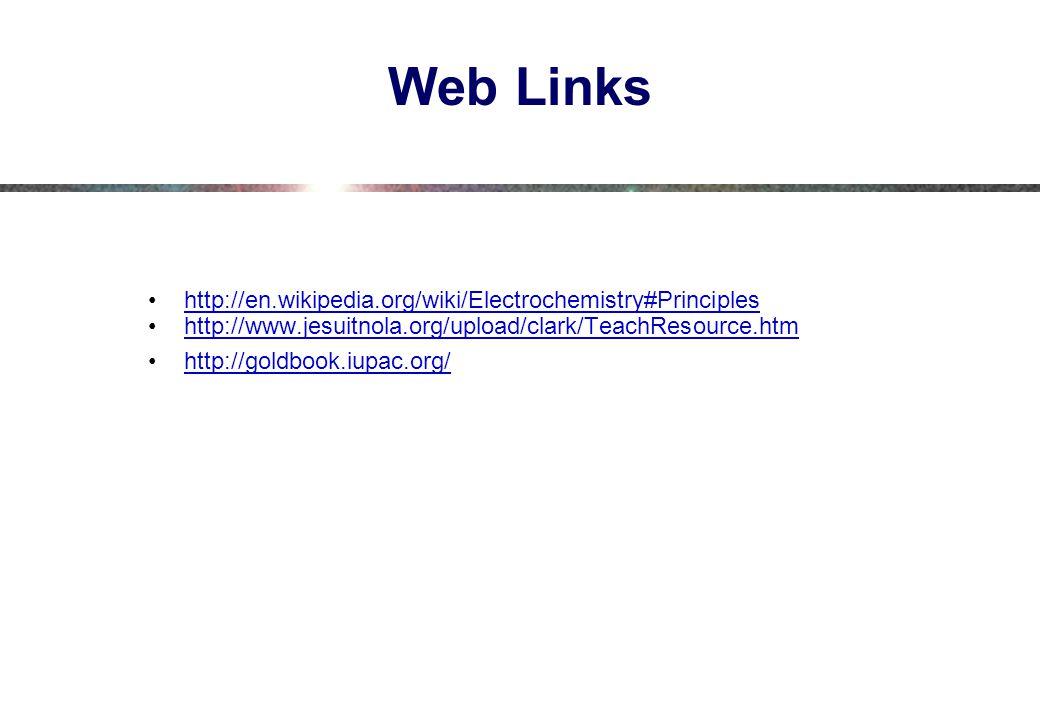 Web Links http://en.wikipedia.org/wiki/Electrochemistry#Principles http://www.jesuitnola.org/upload/clark/TeachResource.htm http://goldbook.iupac.org/