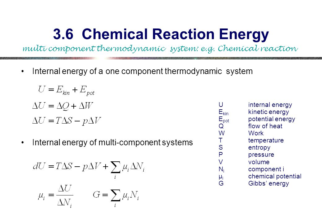 3.6 Chemical Reaction Energy Internal energy of a one component thermodynamic system Internal energy of multi-component systems Uinternal energy E kin kinetic energy E pot potential energy Qflow of heat WWork Ttemperature Sentropy Ppressure Vvolume N i component i µ i chemical potential GGibbs' energy multi component thermodynamic system: e.g.