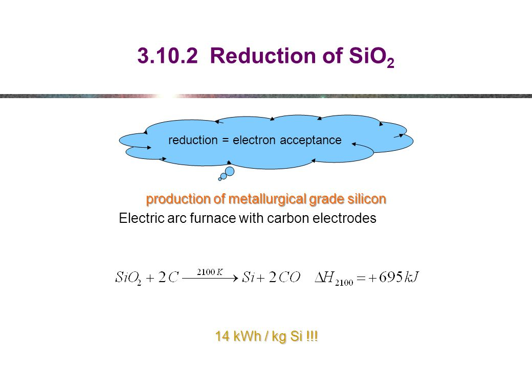3.10.2 Reduction of SiO 2 reduction = electron acceptance production of metallurgical grade silicon Electric arc furnace with carbon electrodes 14 kWh / kg Si !!!