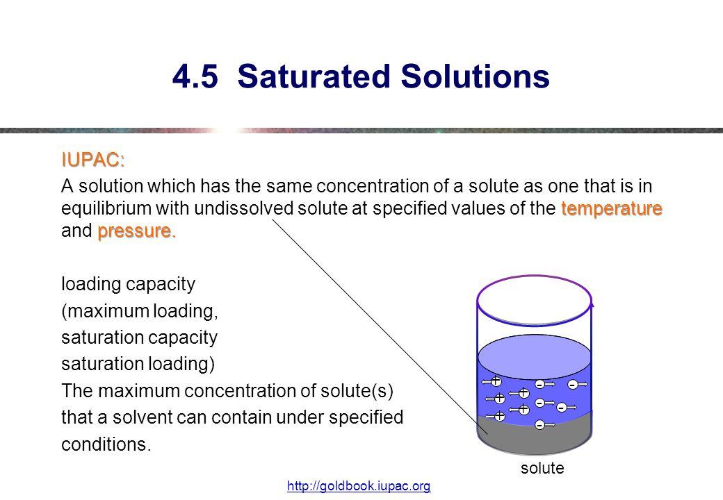 4.5 Saturated Solutions IUPAC: temperature pressure.