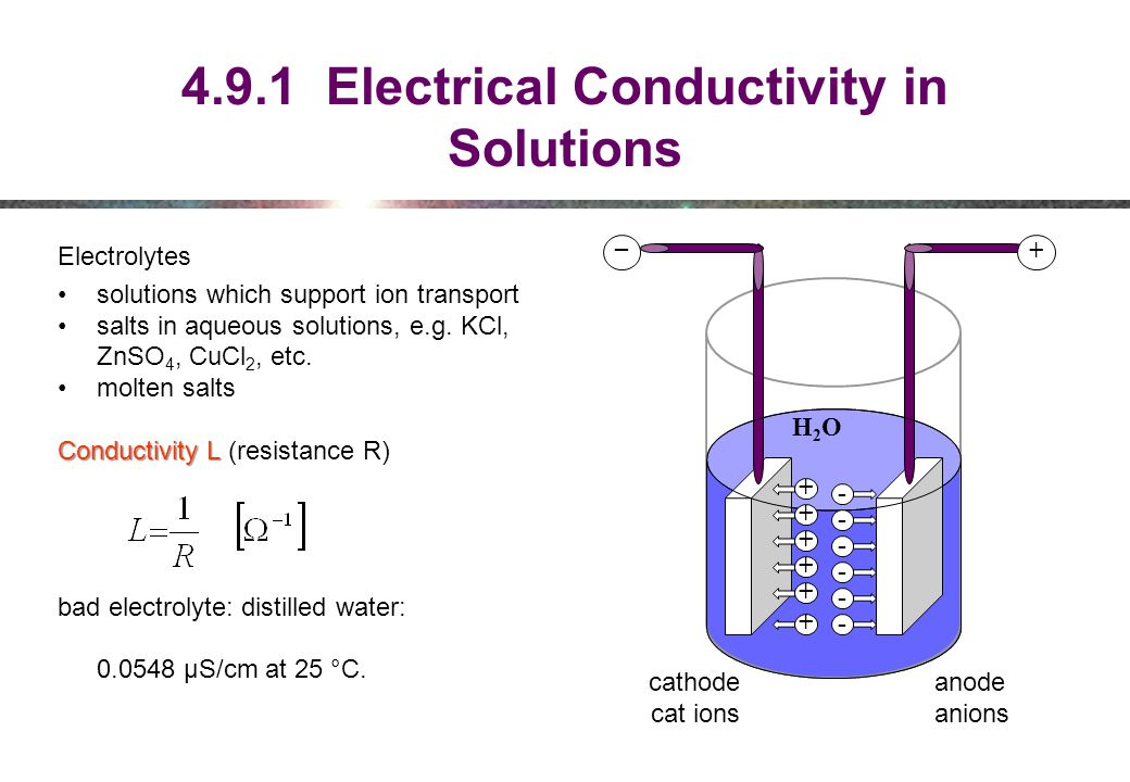 4.9.1 Electrical Conductivity in Solutions Electrolytes solutions which support ion transport salts in aqueous solutions, e.g.