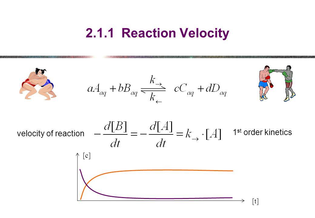 2.1.1 Reaction Velocity 1 st order kinetics velocity of reaction [t] [c]