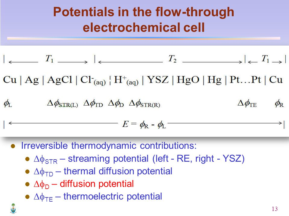 13 Potentials in the flow-through electrochemical cell l Irreversible thermodynamic contributions:  STR – streaming potential (left - RE, right - YSZ)  TD – thermal diffusion potential  D – diffusion potential  TE – thermoelectric potential