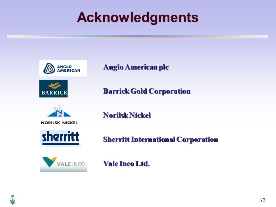 32 Acknowledgments Anglo American plc Barrick Gold Corporation Norilsk Nickel Sherritt International Corporation Vale Inco Ltd.