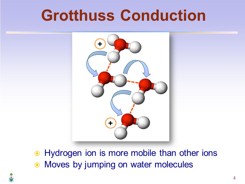 4  Hydrogen ion is more mobile than other ions  Moves by jumping on water molecules Grotthuss Conduction