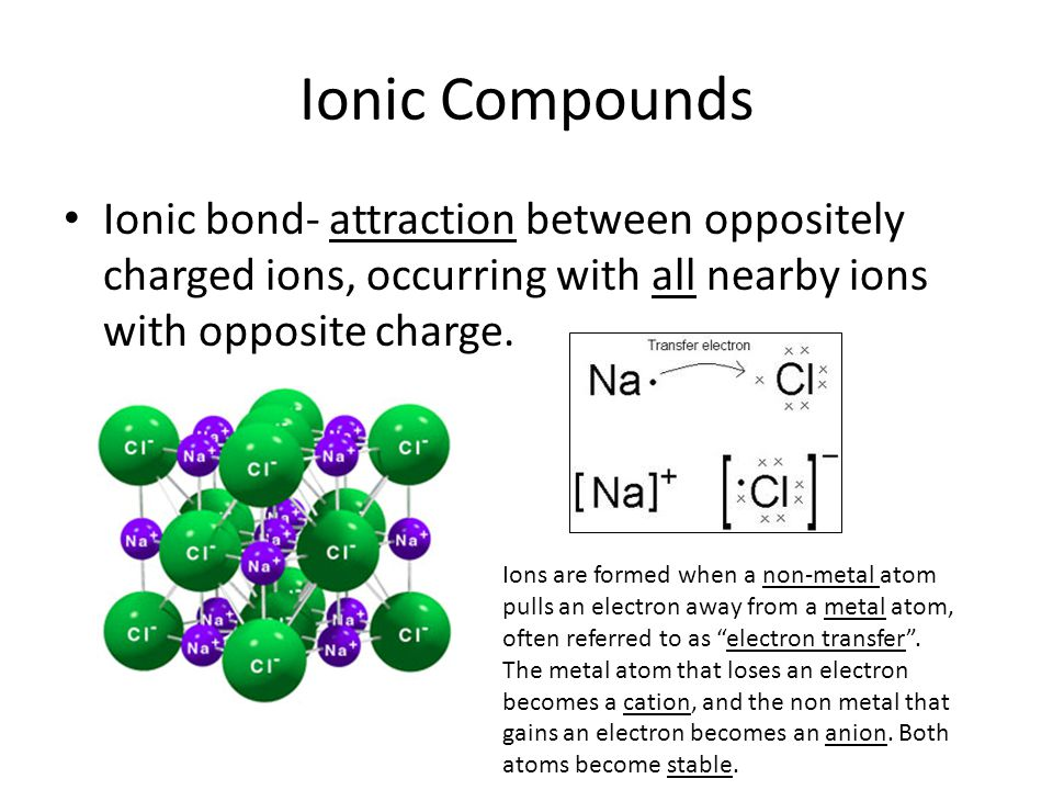 Ionic Compounds Ionic bond- attraction between oppositely charged ions, occurring with all nearby ions with opposite charge.