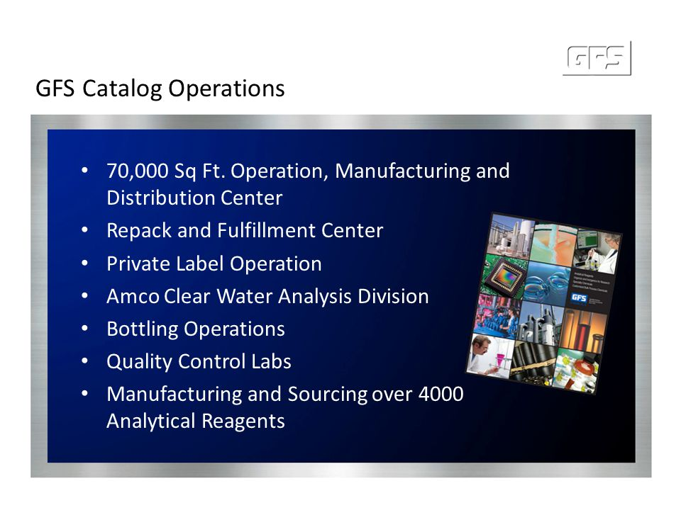 GFS Catalog Operations 70,000 Sq Ft. Operation, Manufacturing and Distribution Center Repack and Fulfillment Center Private Label Operation Amco Clear
