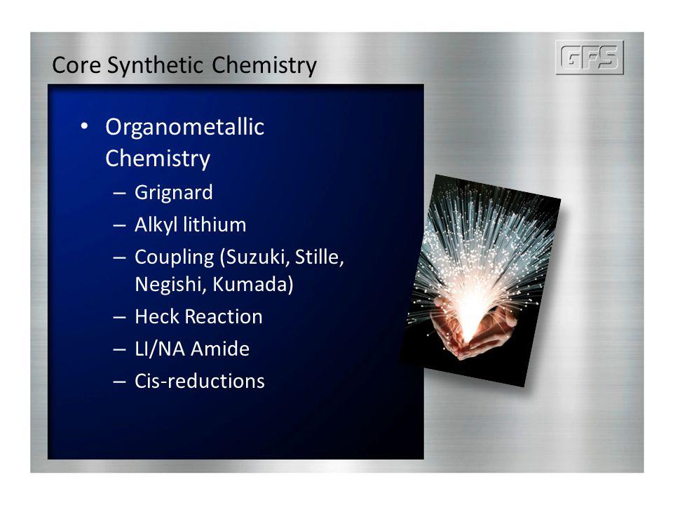 Core Synthetic Chemistry Organometallic Chemistry – Grignard – Alkyl lithium – Coupling (Suzuki, Stille, Negishi, Kumada) – Heck Reaction – LI/NA Amide – Cis-reductions