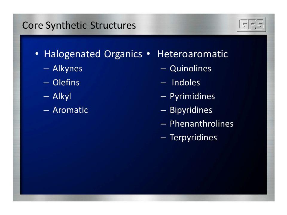 Core Synthetic Structures Halogenated Organics – Alkynes – Olefins – Alkyl – Aromatic Heteroaromatic – Quinolines – Indoles – Pyrimidines – Bipyridines – Phenanthrolines – Terpyridines