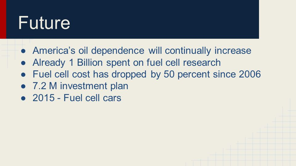 Future ●America's oil dependence will continually increase ●Already 1 Billion spent on fuel cell research ●Fuel cell cost has dropped by 50 percent since 2006 ●7.2 M investment plan ●2015 - Fuel cell cars