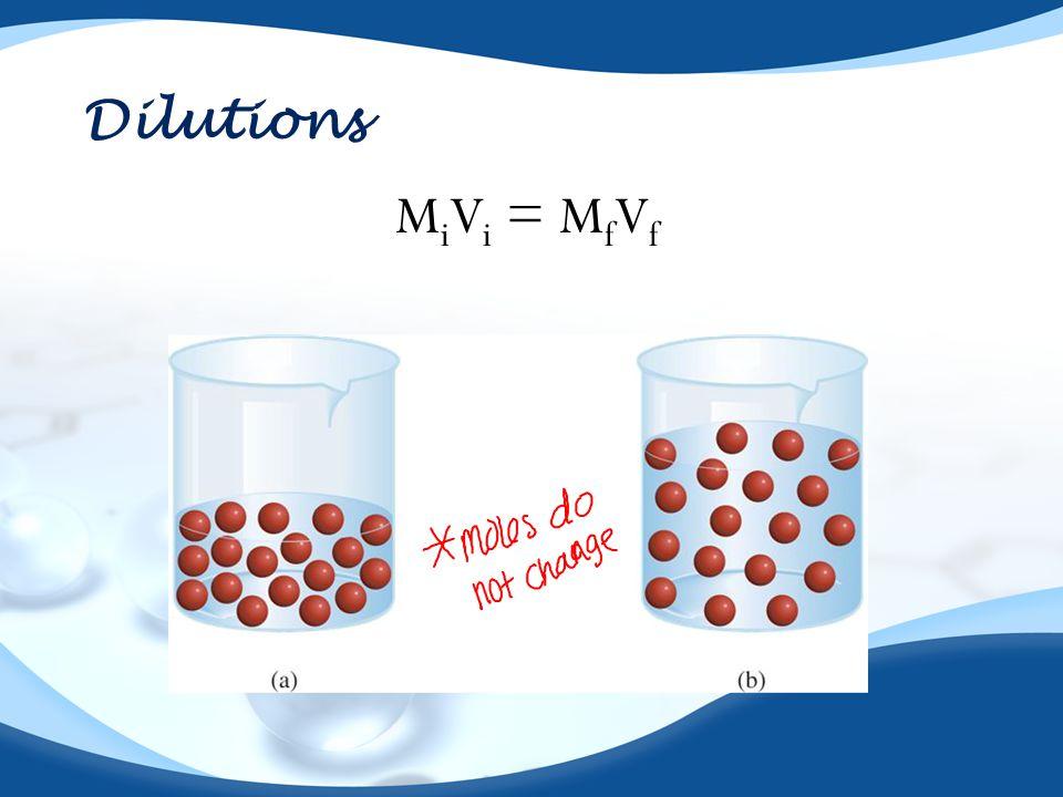 Dilutions M i V i = M f V f