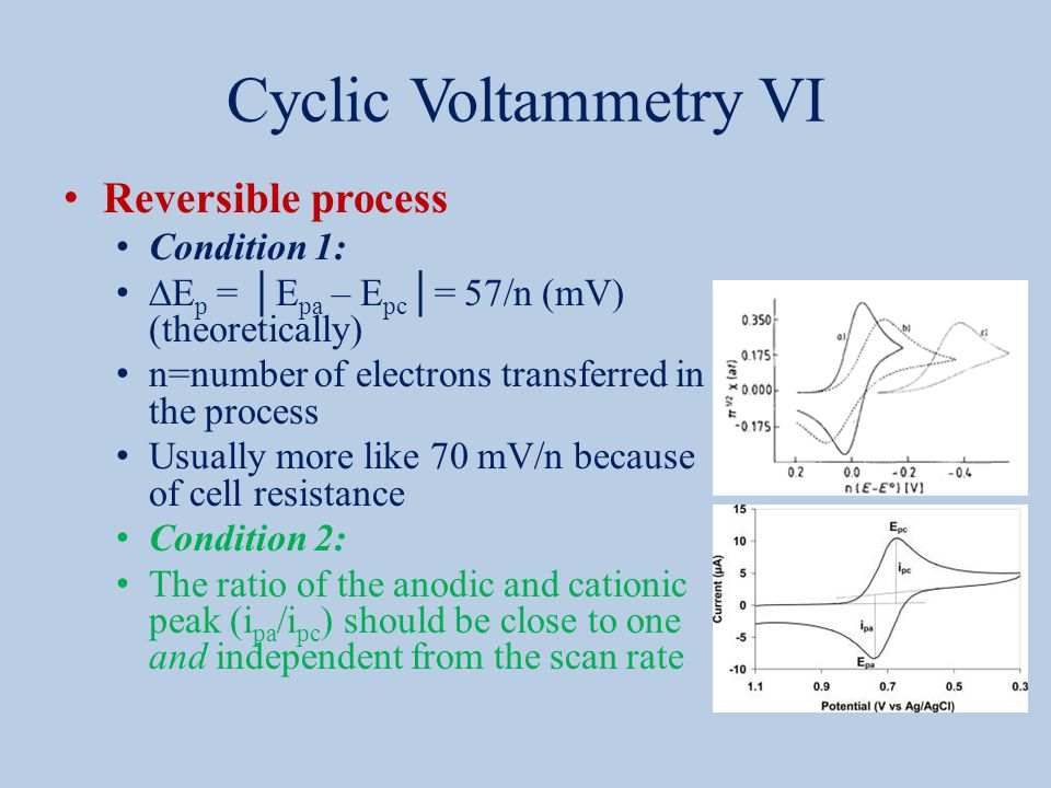 Cyclic Voltammetry VI Reversible process Condition 1:  E p = │E pa – E pc │= 57/n (mV) (theoretically) n=number of electrons transferred in the proce